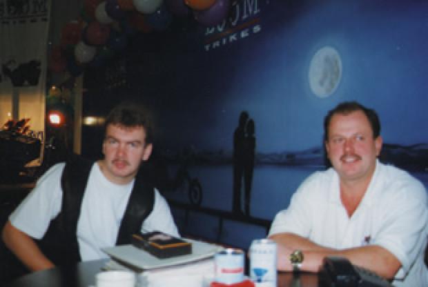 De grondleggers van BOOM Trikes in hun aanvangsjaren, Wolfgang Merkle en Hermann Böhm